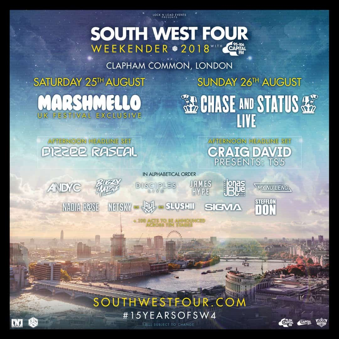 SOUTH WEST FOUR FESTIVAL ANNOUNCES PHASE ONE LINE-UP FOR 2018
