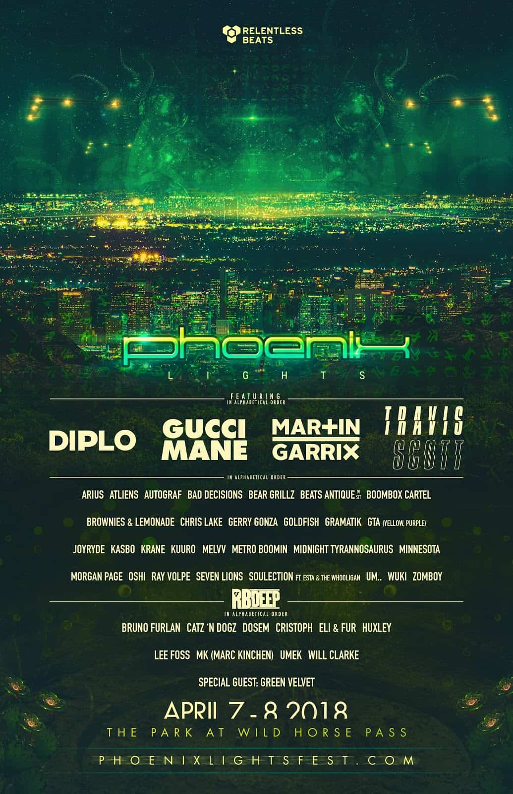 Phoenix Lights announces phase 2 lineup featuring Travis Scott, Bear Grillz, Metro Boomin, Wuki & more