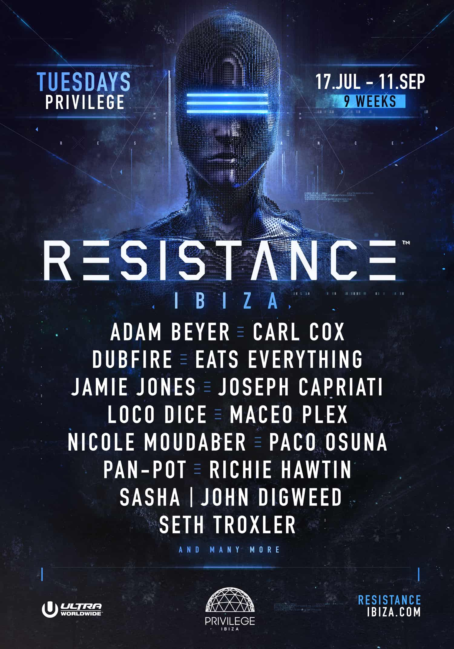 RESISTANCE Ibiza has just announced the 2018 headliners set to play Privilege this summer